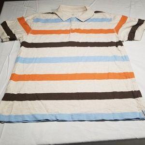 Oatmeal, Brown, Orange, Blue Striped Polo